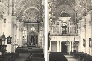 Centrální loď kostela sv. Jindřicha a pohled od hlavního oltáře k východu, kůr s varhanami.jpg