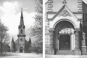 Průčelí kostela a detail hlavního vstupu kostela sv. Jindřicha.jpg